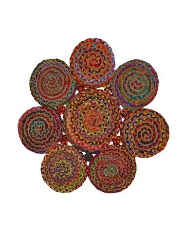 MarkaEv Flatweave Jüt El Halısı 120x120cm Renkli